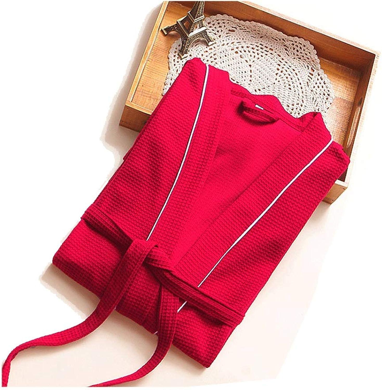 YUNHAO Men's and Women's Bathrobes Cotton Waffle Long Sleeve Thin Bathroom Bathrobe Sauna Bathrobe A (color   RED, Size   S)