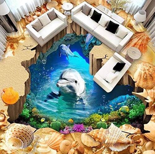 Baldosas de vinilo personalizadas Beach dolphin 3d fondos de pantalla para pisos para habitación Baño sala de estar piscina Autoadhesivo impermeable-300 * 210cm