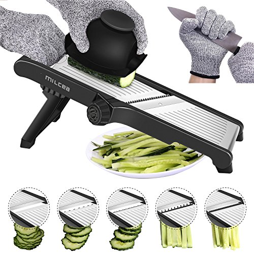 MILcea Mandoline de Cuisine Acier Inoxydable Multifonction Professionnelle réglable 4 Modes trancheuse pour légumes Fruits à partir de Fin à 9mm,Gants de sécurité Inclus Noir