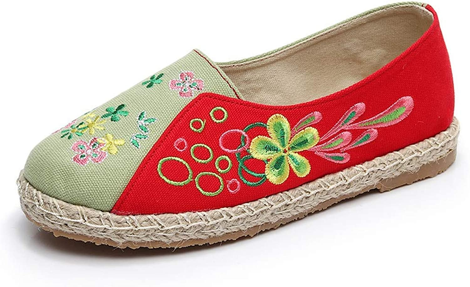 Elsa Wilcox Women Embroidery Flowers Style Slip on Loafers Comfortable Ballet Flats Loafer Embroidered shoes