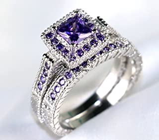 Victoria Jewelry Princess cut 1ct Amethyst 10KT White Gold Filled Women's Wedding Ring Sets Band (6)