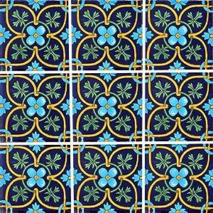 """Color y Tradicion 9 Mexican Tiles 4"""" x 4"""" Hand Painted Talavera C354"""