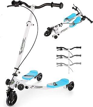 keland Patinete de Tres Ruedas para Niños, 3 Ruedas Y Fliker Swing Scooter para niños de 4 a 9 Años,Altura Ajustable Patinetes Scooter Tri Slider ...