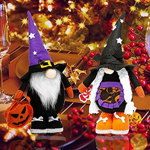 Halloween Gnomes Plush Decor, 2 Pack Handmade Elf Ornaments, Home Decorations Gifts