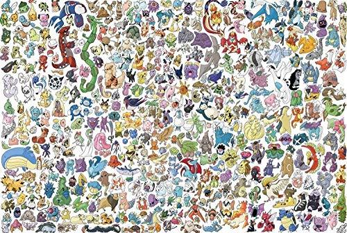 Puzzle para adulto, 1500 piezas, juguetes educativos de madera, diseño de Pokemon familia, decoración de regalo, 87 x 58 cm