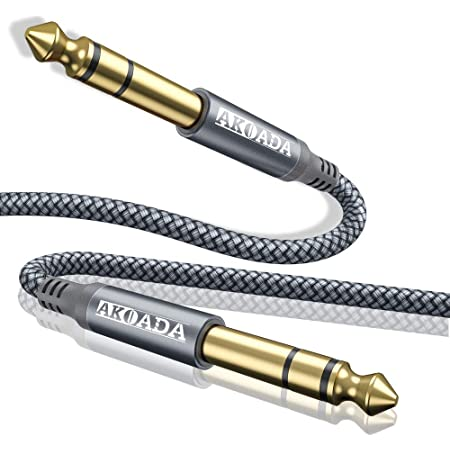 Cable para Instrumento, AkoaDa 6.6 Pies Instrumento de Guitarra 6.35 mm (1/4) TS a 6.35 mm (1/4) TS Adaptador de Audio Estéreo Balanceado Macho a Macho Cable Trenzado de Nailon, Compatible con Guitarra, Bajo, Mezcladores de Audio, Altavoz, Amplificador, etc, Individual – (gris)