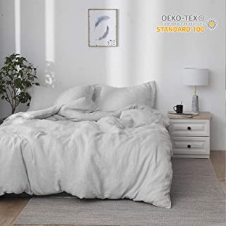 Simple&Opulence 100% Linen Stone Washed 3pcs Basic Style Solid Duvet Cover Set (King, Grey)