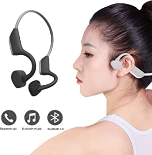 Open-Ear Wireless Bluetooth Headphones Bone Conduction Headphones HiFi Stereo with Mic for Running Driving Cycling Waterproof Open Ear Sports Headsets (Gray)