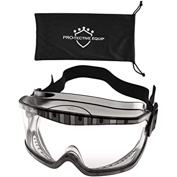 PROTECTIVE EQUIP Safety Goggles Clear Anti Fog Safety Glasses for Eye Protection, Chemistry Goggles for Lab Safety, Protective Eye Wear Goggles for Eye Safety, Multiuse (MEDIUM)