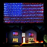 DANLI American Flag String Lights, Waterproof 420 LED String Lights, US Flag Light with Plug, 8 Modes Net Light Holiday Decoration for Garden Patio July 4th National Day Independence Day Memorial Day