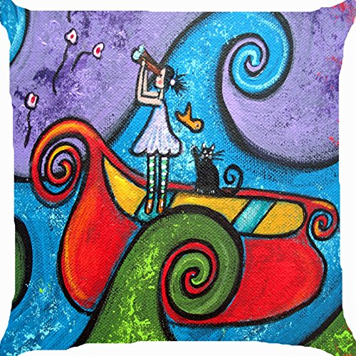 Cushion cover door kussen 18 inch pop-art abstract meisje watch sky stars pet zwarte kat sail boat ocean waves kleurrijke grappige beide zijden image rits