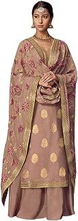 Tan Palazzo Suits Collection for Wedding Salwar Kameez Style Dress Muslim Sharara Wedding Custom to Measure Dola Silk Eid 8406