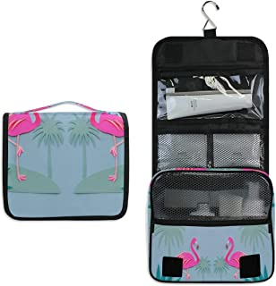 Flamingos And Palm Trees Love Hanging Travel Toiletry Bag for Women Men | Hygiene Bag | Bathroom and Shower Organizer for Toiletries, Cosmetics, Makeup, Brushes