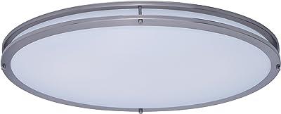 Maxim 55548WTSN Linear LED Flush Mount, Satin Nickel Finish, White Glass, LED Bulb