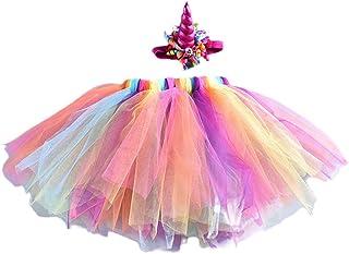 FENICAL Vestido de fantasía niña bebé arco iris falda tutú con unicornio diadema para Navidad fiesta de disfraces de Halloween 3-8Y