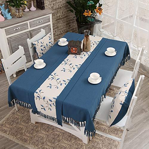 Cozomiz Camino de mesa de lino con borla decorativo de arpillera para cenas, bodas, primavera y uso diario, 37,8 x 177,8 cm, azul marino