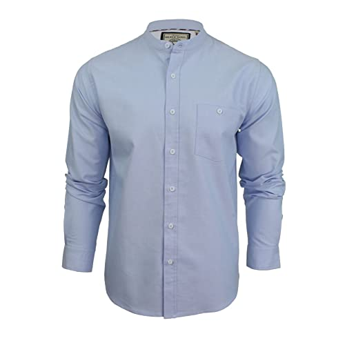 8028ee9d0acf Mens Grandad Collar Oxford Shirt by Brave Soul  Augustus  Long Sleeved
