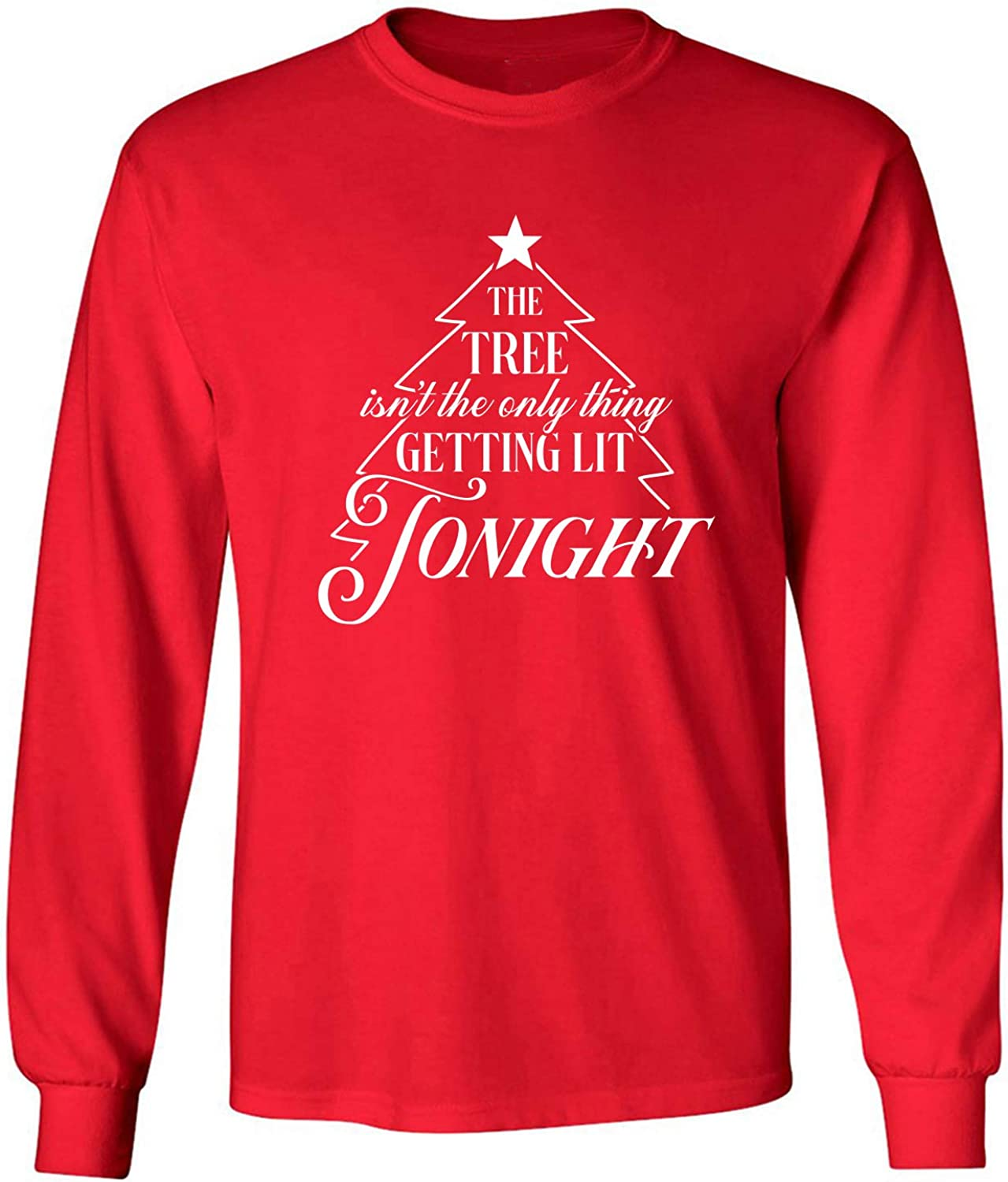 The Tree.Getting Lit Tonight Adult Long Sleeve T-Shirt in Red - XXXX-Large