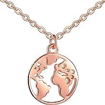 Infinito U- Moda Collares de Plata de Ley 925 Colgante de la Mapa del Mundo,con 3 Colores, Idea Regalo Navidad para Mujeres Chicas Hombre