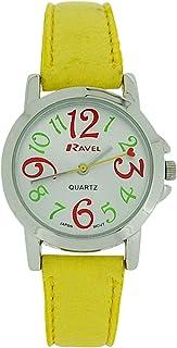 Ravel Ladies - Girls Silver Dial & Yellow PU Buckle Strap Watch R0126.09.2