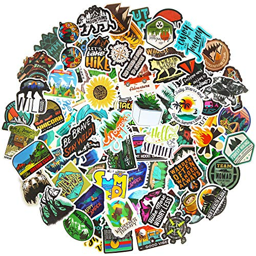 100 Piezas Pegatinas de Aventura al Aire Libre Pegatinas de Naturaleza Desierto Pegatinas Impermeables de Viaje Senderismo Camping Calcomanías de Vinilo Vsco para Botella de Agua Equipaje Patineta