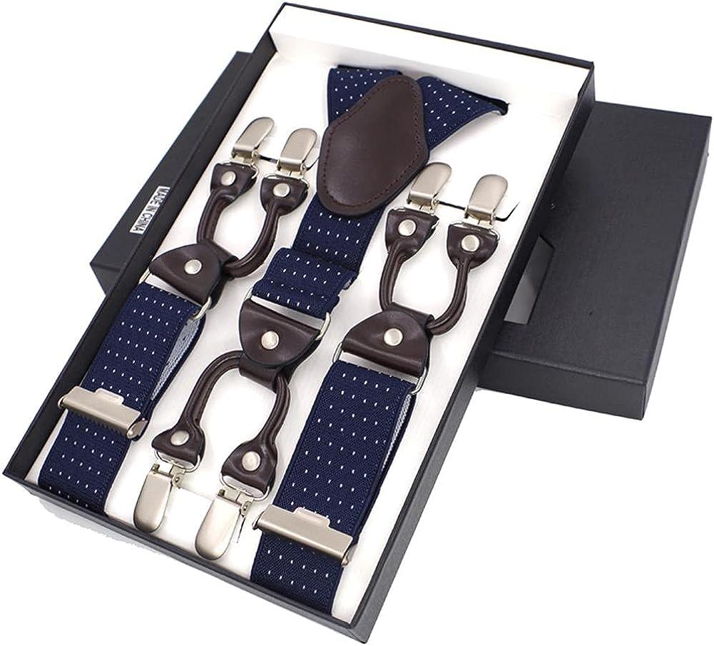 Men'S Fashion Leather Braces Mens Trouser 6 Clips Adult Suspensorio Tirantes Hombre Bretelles