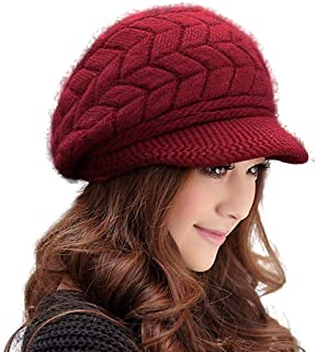 HINDAWI Women Winter Warm Knit Hat Wool Snow Caps With Visor, Red, one size
