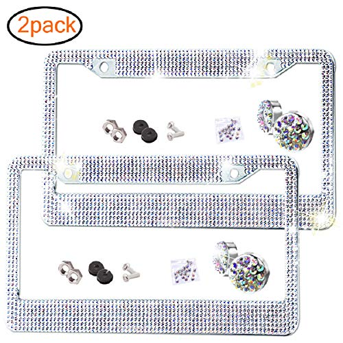 2 Pack Bling License Plate Frame Premium Stainless Steel Metal License Plate Cover Pure Handmade Glitter Rhinestones Car License Plate Holder with 2 Holes Bonus Matching Screws Caps