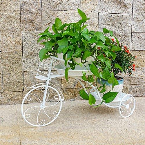 Cdbl étagère de Rangement Style de Bicyclette Fer Cadre Fleur présentoir Blanc Design pour Vos Herbes, Fleurs, Plantes Indoor Outdoor Living Room Support en Bois Massif (Taille : 39 * 69)