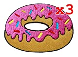 Pack of 3 Cute Pretty Strawberry Doughnut Donut Bags Jackets Jeans Clothes Embroidered Iron on Patch