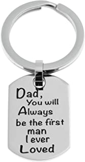 Joyful Sentiments Men's Fashion Jewelry Stainless Steel Dad Dog Tag Key Ring 1½ Inches Long