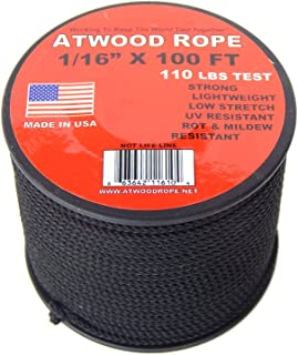 Atwood Rope 1/16 inch Microcord 100 foot spool, Mosquito Cord, 2mm paracord, Micro Parachute Cord - BLACK