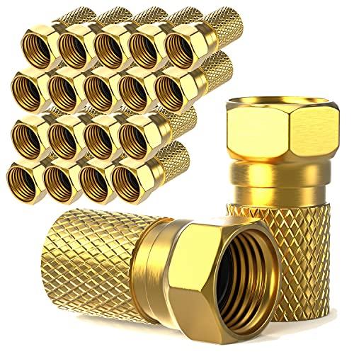 F-Stecker 7mm schraubbar | 20 Stück vergoldet | Gummidichtung | breite Mutter | für Koaxial Antennenkabel | Koax SAT Kabel | BK Anlagen | Satelliten LNB (20x, F-Stecker vergoldet)