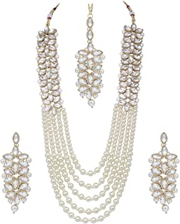 539a8ab7d1809b I Jewels Gold Plated Pearl & Kundan Necklace with Earrings for Women  (ML164W)