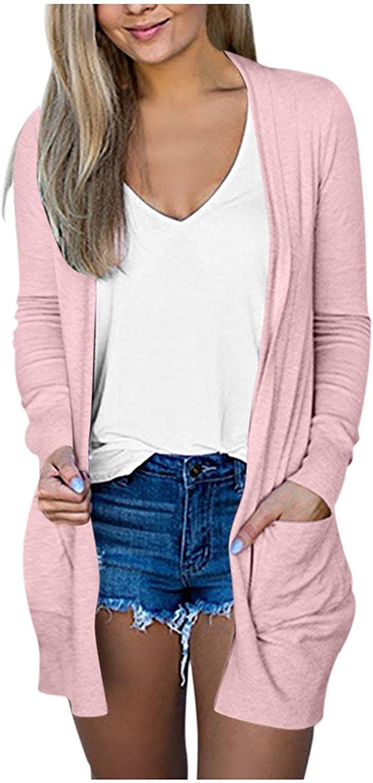 FABIURT Cardigan for Women,Women's Open Front Lightweight Long Sleeve Kimono Cardigan Jackets Outerwear with Pockets