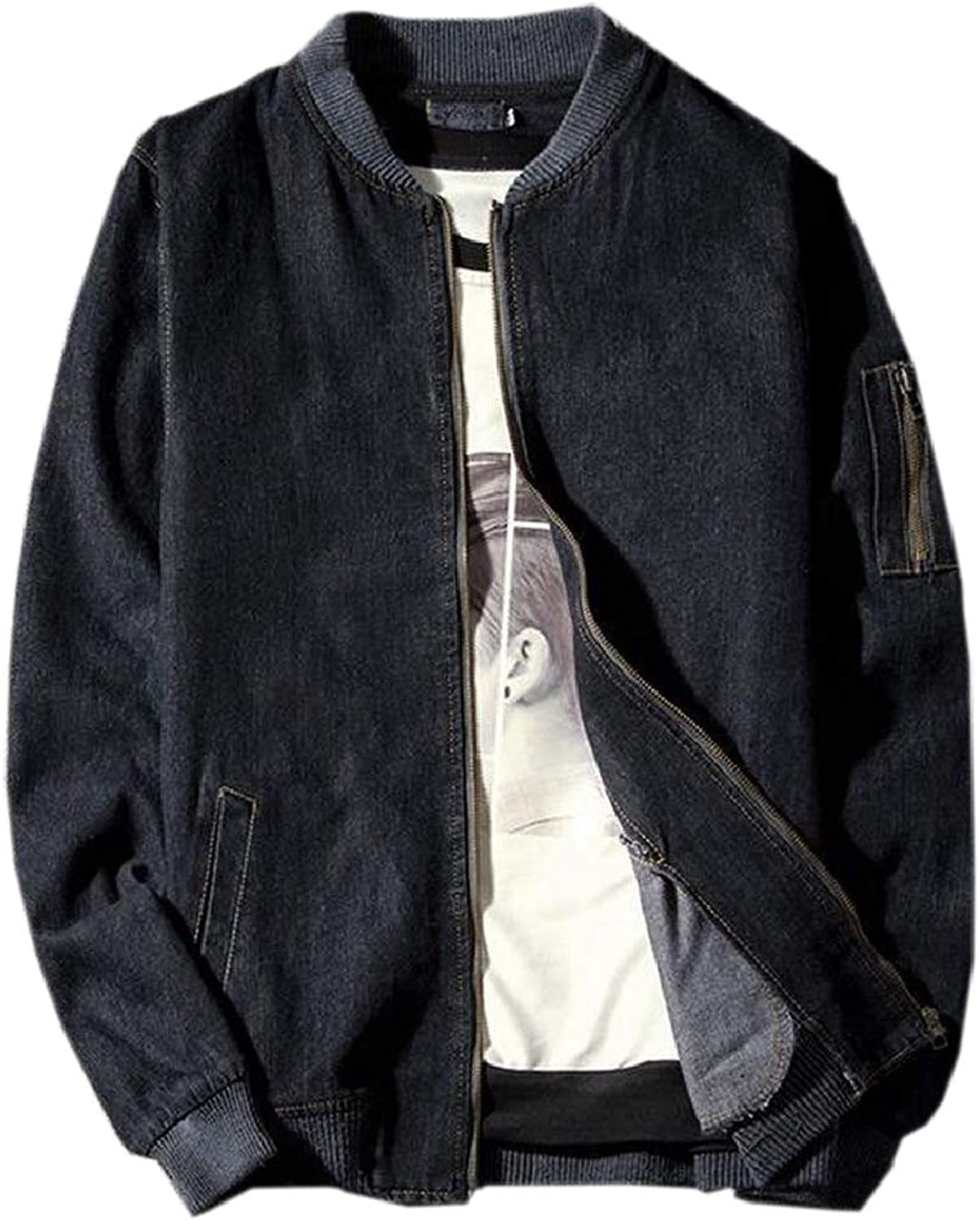 - pujingge-CA Men Washed Stylish Stand Stand Stand Collar Zip Front Denim Jacket Coat Outerwear bf7958