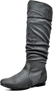 Best wide calf gray leather boots Reviews