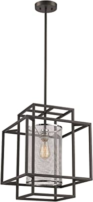 Trans Globe Imports 10611 BK/PC Transitional One Light Pendant from Empire Collection Finish, 14.50 inches, Black-Polished Chrome