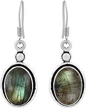 Natural Moonstone Labradorite Lapis Rose Quartz 925 Silver Overlay Handmade Bohemian Dangle Earrings For Women