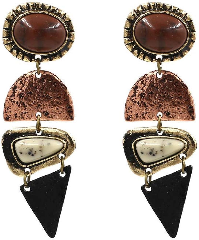 Channel V Vintage Boho Dangle Earrings Large Wild Stone Sexy Cool Pendant Earrings Statement Black White Brown Dark Color Earring Spiked Drop Earrings for Ladies Girls Elegant Gift Birthday
