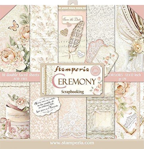 STAMPERIA SBBL42 Papierblock 10 Blätter doppelseitig Hochzeit, Papier, Mehrfarbig, 30.5 x 30.5 (12