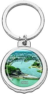 Hqiyaols Keychain Germany German Corner Koblenz Bottle Opener Creative Crystal Stainless Steel Cap Key Chain Travel Souvenirs Gifts Metal