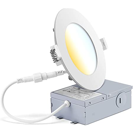 J.E.M. LED 9W 750 LUMENS Changeable CCT 3000K//4000K//5000K Ultra Slim 4 INCH DIMMABLE RECESSED Downlight with Junction Box cETL Listed IC Rated 5 Years Warranty 50,000 Hours 9 Pack