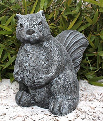 Garden ornament Squirrel, Cast stone, Slate gray