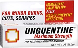 Unguentine Pain Relieving Antiseptic Ointment, Maximum Strength 1 oz (Pack of 4)