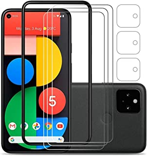 [6 Pack] Laerion Compatible with [3 Pack] Google Pixel 5 Screen Protector&[3 Pack] Camera Lens Protector[Easy Installation...
