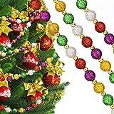 15 Feet Guirnalda de Cuentas Multicolor de Navidad Guirnalda de Perlas Rojo Verde Dorado Brillante para Adornos de Árbol de Navidad (Colores Clásicos)