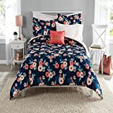 6 Piece Girls Navy Blue Rose Bouquet Comforter With Sheet Twin Twin Xl Set, Coral Pink Whimsical Floral Blooms Pattern, Reversible Blush Pink Stripe Kids Bedding Garden Nature Themed Teen, Microfiber