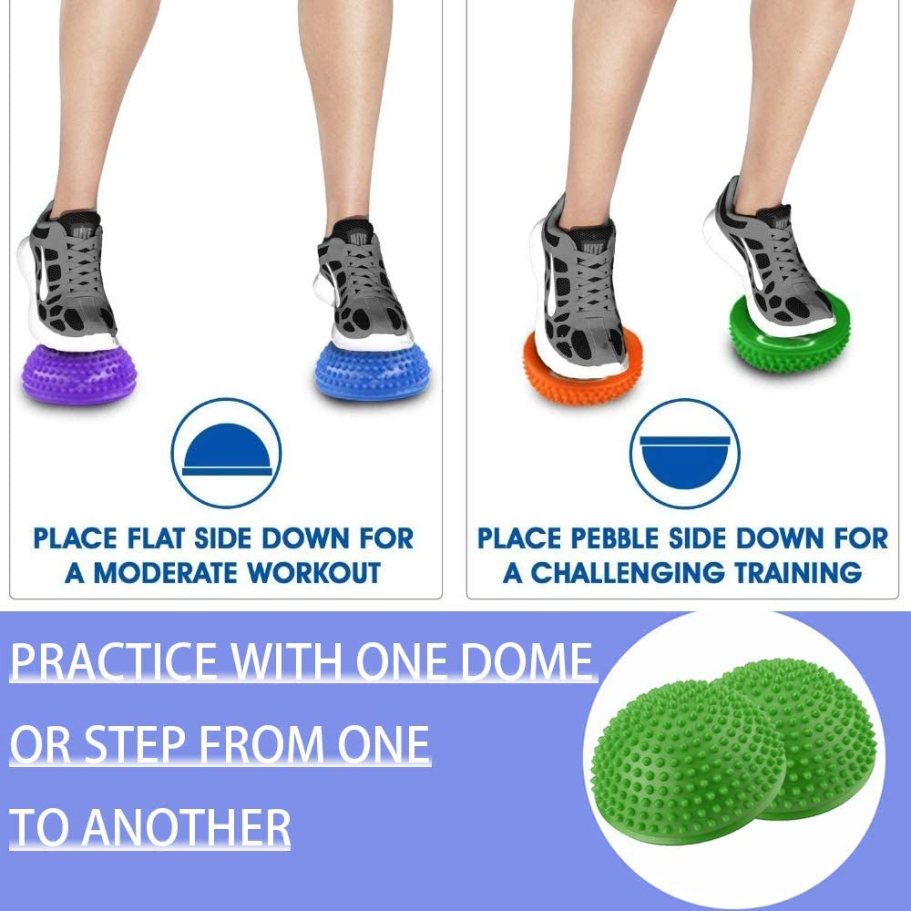 Stability Training Motor Skills Yoga Gymnastics Exercise Foot Massage Muscle Balancing Therapy 2PCS Hedgehog Balance Pods Half Spiky Fitness Domes for Kids Adults Sports Pimples Pilates Ball