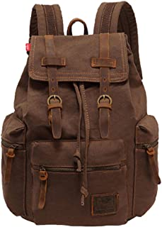 SANNU Unisex Segeltuch Rucksack Vintage Rucksack Beiläufige Schule Wandernde Spielraum im Freien Tagesrucksack Kaffee